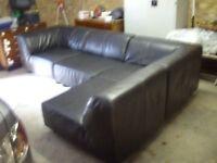 Sofa, 4 pce corner or long unit, brown Italian leather, fair condition