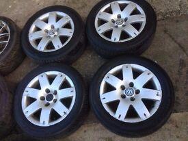 """VW PASSAT Audi A4 SKODA B5 b5.5 FL 2003 7 SPOKE SPORT ALLOY WHEELS TYRES RIMS SET 16"""" 5X112 R16"""