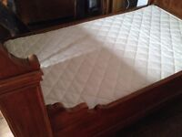 ANTIQUE RUSTIC FRENCH SLEIGH BED