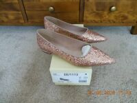 Ladies Next Size 6 / 39 Gold and Pink Shimmer Sequins Pointed Toe shoes - Brand New In Box