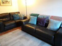 Brown leather 2 seater and 3 seater sofa. Needs to be seen. Bargain!