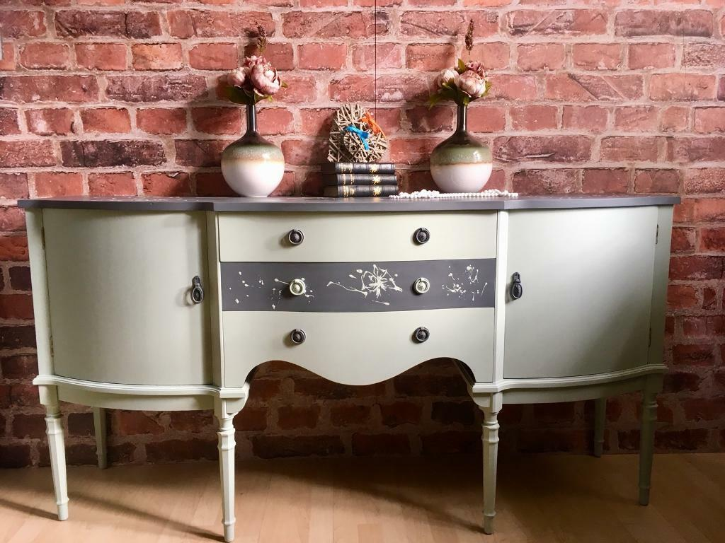 Unique Shabby Chic Hand Painted Sideboard Cabinet Buffet Solid Strongbow Furniture