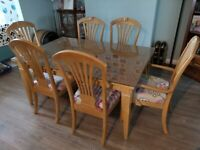 Extendable Dining Table with 6 Chairs For Sale