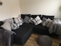 Large black sofa and chair