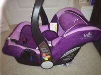 Vib very important baby newborn purple pink car seat, up to 13kg