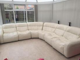 Cream leather corn sofa setee, couch