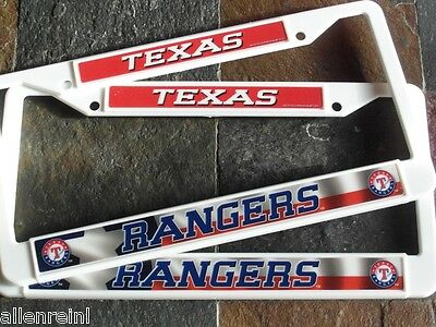 Texas License Plate Frames (2 Texas Rangers White Plastic License Plate Frames - Nice 2D Color Graphics)