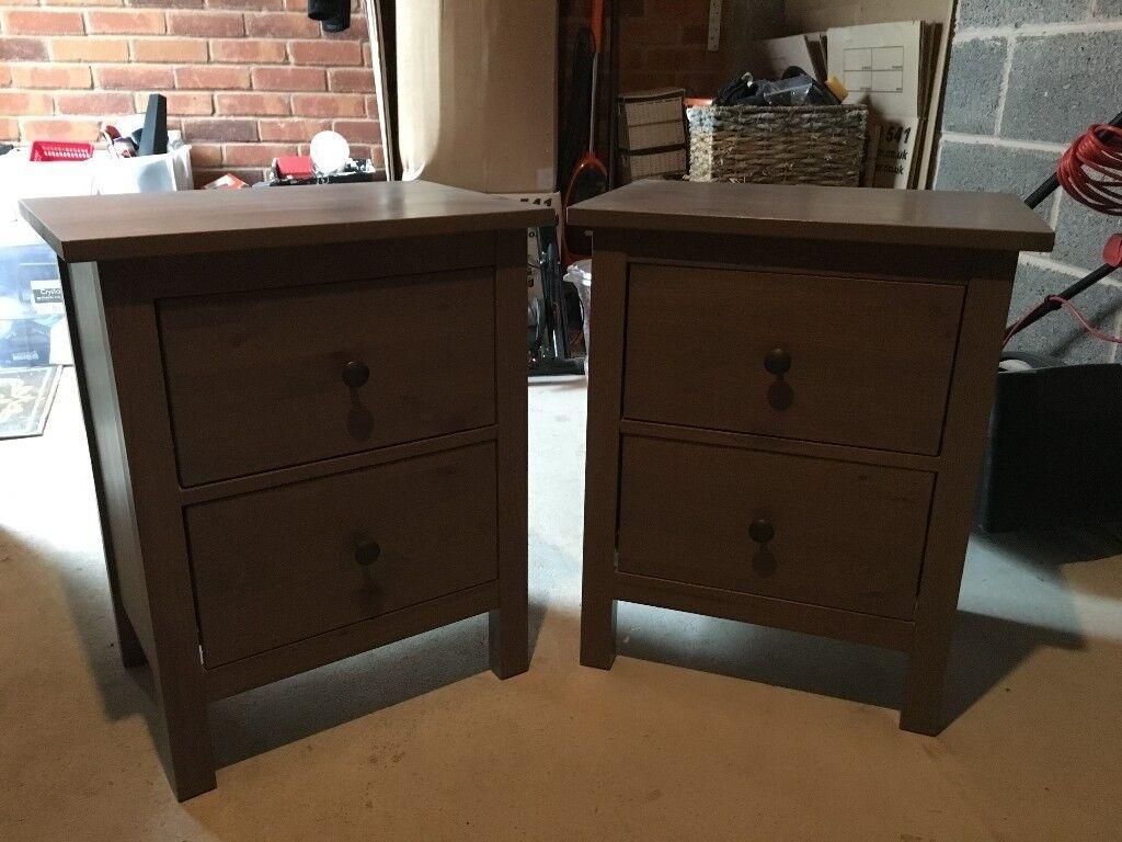 Ikea Hemnes Black Brown Bedside Cabinets