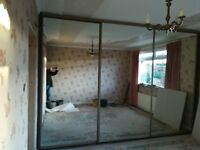 3 mirror sliding wardrobe doors 4ft by 97 inches