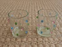 2 Clear Glass Votive Candle Holders with Coloured Beads Christmas Gift Idea Womens Stocking Filler