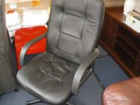 BLACK LEATHERETTE OFFICE CHAIR at Haven Housing Trust's charity shop