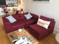Used Made sofa - Abingdon 4 Seater Modular Sofa, Deep Red