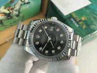 New Swiss Men's Rolex Oyster Datejust Perpetual Automatic Watch, black Dial silver case