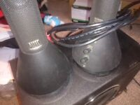 Altec lansing speakers and subwoofer.