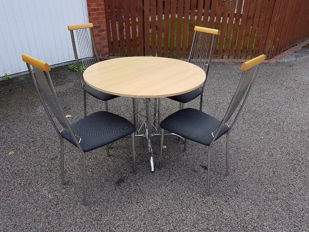 Round Italian Wood & Chrome Table & 4 Chairs FREE DELIVERY 529