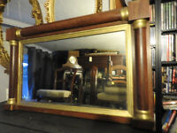 "large antique overmantle wall mirror ""Empire influenced"""