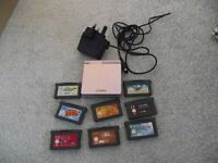 Gameboy Advance with charger and 8 games