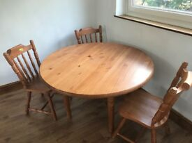 Real wooden round dining table with chairs