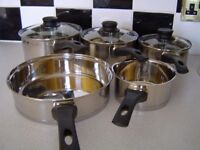 NEW ETHOSCOOK HELL'S KITCHEN STAINLESS STEEL PAN SET & MATCHING STEAMER& STOCK POT SET