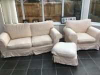 Sofa suite: sofa, chair and footstool
