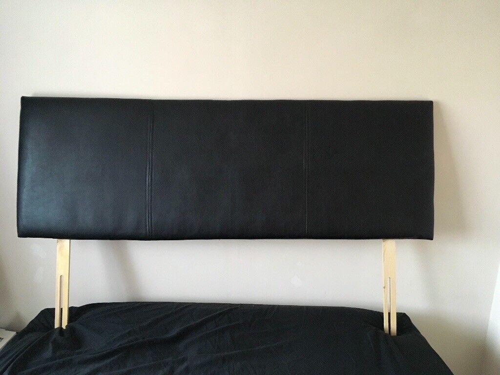 HEADBOARD King size black leather effect