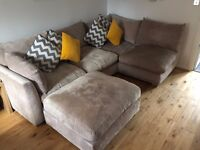 Left Hand Corner Sofa with matching footstool- in Excellent Condition