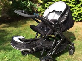 Britax B-Dual Twin Pushchair and Travel System, including car seat and travel cot