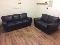 Leather 3+2 sofas (free delivery)
