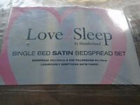 SINGLE BED SATIN BEDSPREAD SET