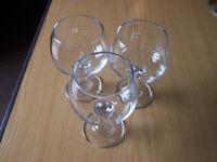 3 large brandy glasses