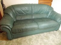 Green leather settee for sale