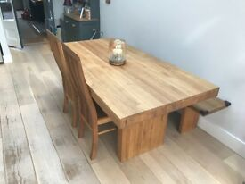 John Lewis solid oak Henry dining table, bench and chairs