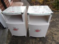 PAIR of VINTAGE LLOYD LOOM STYLE BEDSIDE CABINETS