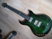 Vintage VRS100 PRS Style (Flame Maple Green) 2 Octave Guitar