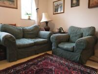 Sofa and armchair covers (one of each). Heavy-duty, removable, washable.