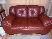 LEATHER SOFA CHOCOLATE BROWN 2 SEATER