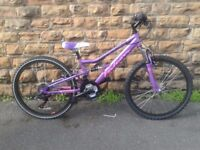"""New Girls 24"""" Falcon Siren Dual Suspension Mountain Bike RRP £184.99"""