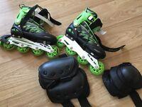 Cougar Inline Roller Blades UK 6/7.5 Green/Black