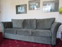 Sofa 3 seater. Green velvet Chesterfield style. New condition.