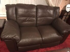 2 seater leather settee in walnut brown.