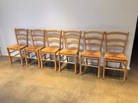 Six dining room chairs.