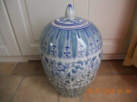 GINGER JAR BLUE 32CM HIGH TO THE TOP OF THE LID X 22CM WIDE AT WINDEST PART ANTIQUE STONE PORCELAIN