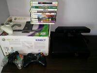 Xbox 360 250gb with kinect and 11 games