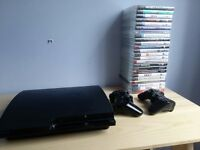 PS 3 slim 160GB, 2 x wireless controllers, 22 games, all cables