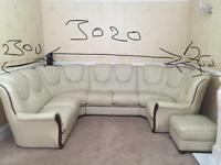 7 seater italian leather U shape corner sofa in Ivory Beige excellent condition