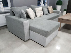 MALAGA Corner Sofa Bed >> 2 x container for bedding >> Sleeping function >> Grey >> Delivery