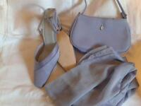 Lilac Shoes Size 7 matching handbag and scarf