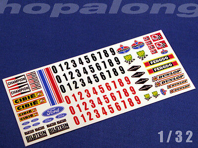 Scalextric/Slot Car 1/32 Scale Waterslide Decals. ws006