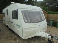 2005 AVONDALE ARGENTE 555 4 BERTH FIXED BED WITH MOTOR MOVER AND AWNING V G C
