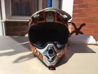 Orange flame takachi motocross helmet small
